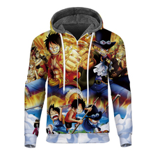 Cloudstyle 2019 Winter Anime 3D Fleece Zipper Hoodies Men Printed One Piece Luffy Thick Hoodie Fashion Mens Coat Streetwear