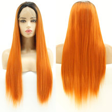 Wig Middle-Parting Lace-Front Heat-Resistant-Fiber Natural-Hairline Bombshell Straight