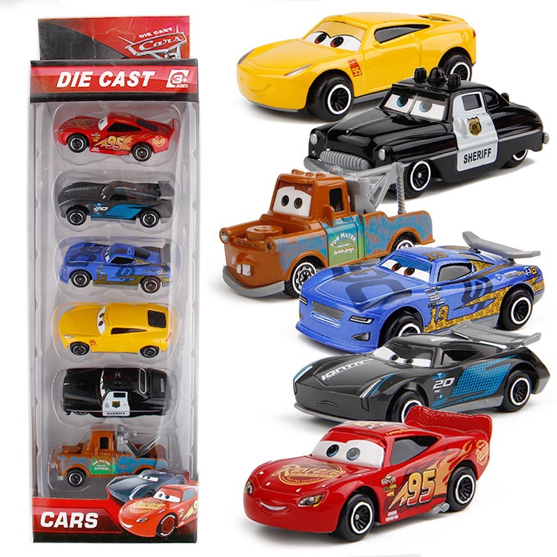 7PCS/Set Disney Pixar Car 3 Lightning McQueen Jackson Storm Mack Uncle Truck 1:55 Diecast Metal Car Model Toy Boy Christmas Gift 2