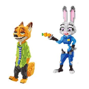 28CM Zoo Story zwierzęta Mini klocki Fox Nick królik Judy DIY modele diamentowe cegły zabawki konstrukcyjne dzieci dzieci zabawki prezent tanie i dobre opinie JOY YIFOR 5-7 lat 8 ~ 13 Lat 14Y Dorośli Zwierzęta i Natura NO EAT Z tworzywa sztucznego 03162020