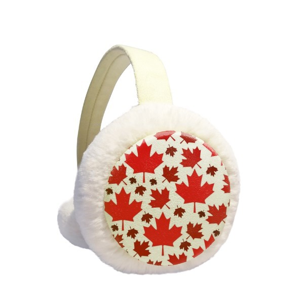 Canada Flavor Leaves Canadian Maple Flag Winter Earmuffs Ear Warmers Faux Fur Foldable Plush Outdoor Gift