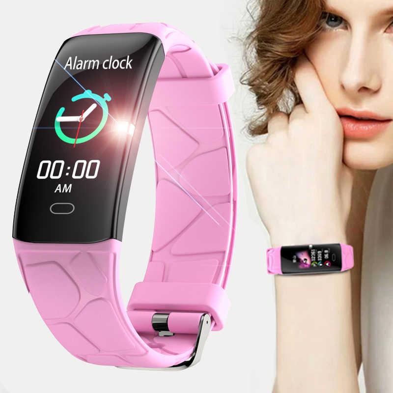 IP68 su geçirmez Reloj inteligente spor akıllı bilezik erkekler için Iphone ios kalp hızı monitörü kan basıncı fonksiyonları akıllı bant