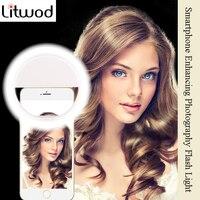 Litwod Z28 teléfono móvil flash tipo Aro para selfies lente belleza relleno luz lámpara Clip portátil para cámara de fotos para Teléfono Celular Smartphone