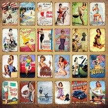 Sexy dama de Metal Vintage placa con indicaciones de pines para carteles chica decoración de la pared Bar Pub Club hombre cueva baño Retro pintura YI-130