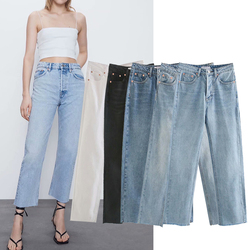 ZA 2020 new 5 colors Toppies autumn jeans Pants Women High Waist Straight Pants solid color Casual trousers streetwear