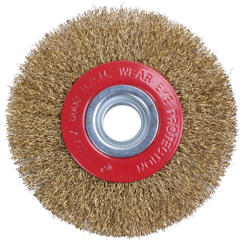 Top-Wire Brush Wheel For Bench Grinder Polish + Reducers Adaptor Rings