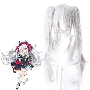Женский парик с двойным хвостом Azur, черно-белый парик из аниме для косплея, 80 см