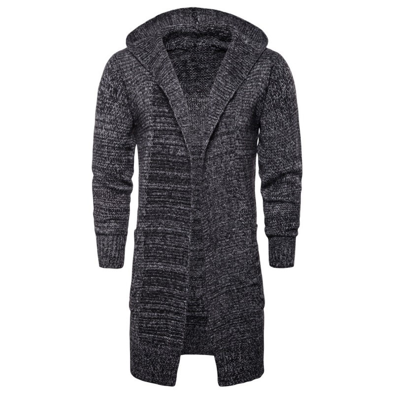 New Autumn Thick V-Neck Mens Cardigan Knitted Solid Long Sweater Coat Hooded Pocket Outerwear Warm Slim Fit Long Sleeve Cardigan