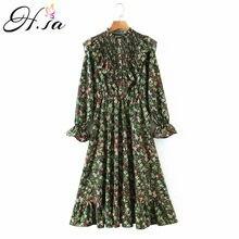 H. sa 2021 mulheres elegant vestidos longos manga longa alargamento floral festa boho maxi vestidos festa longo robe flor vestido