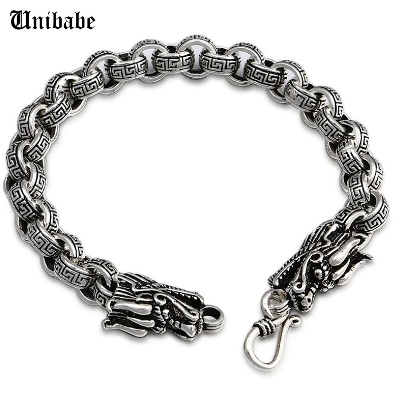 Pure Silver Thai 925 Silber Schmuck Cross Link Dragon Vintage Dickes Armband Chain & Link Man Männlich S925 Armband