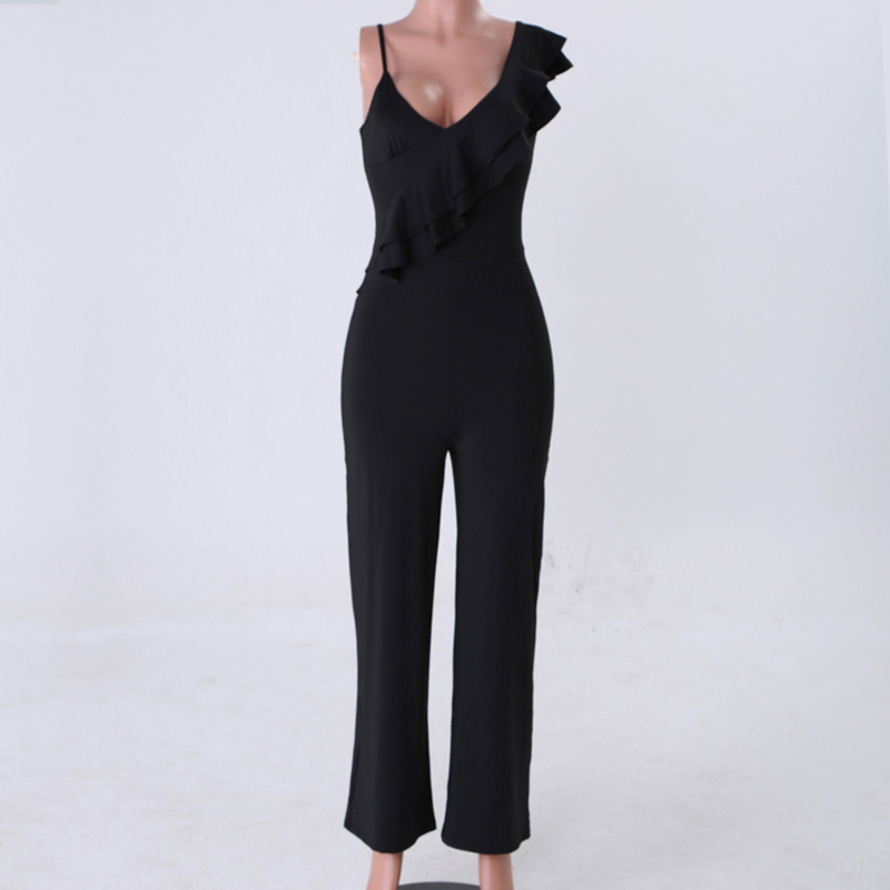 Womens Ladies Palazzo Pleated Frill Layered Strappy All In One Jumpsuit Dress
