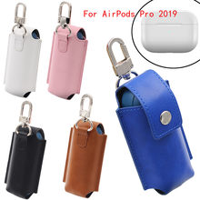 Case Kulit untuk Airpods Pro Cover dengan Gantungan Gantung Drop-Proof Earphone Bluetooth Headphone Set Jatuh Belt kait Kasus 19Nv(China)