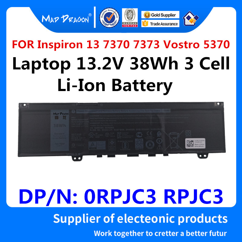 MAD DRAGON Brand Laptop NEW Lithium Battery for Dell Inspiron 13 7370 7373 Vostro 5370 L13.2V 38Wh 3 Cell F62G0 0RPJC3 RPJC3