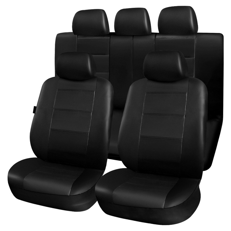 11 pièces noir siège auto en cuir synthétique polyuréthane couvre ensemble universel véhicule siège protecteur étui anti-poussière Automobiles SUV intérieur accessoires