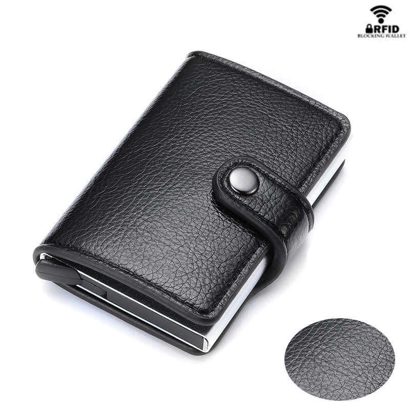 Yambuto Kaarthouder Knop Portemonnee Rfid Blocking Vintage Portefeuilles Credit Card Pop-Up Security Card Case Slim Anti-diefstal Id Houder