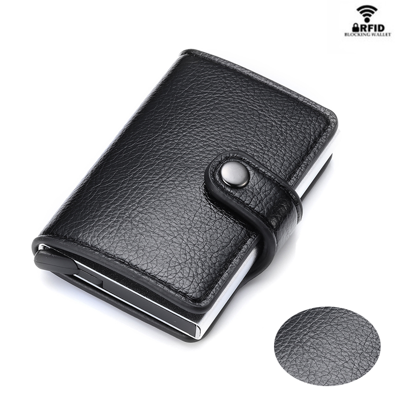 YAMBUTO Card Holder Button Wallet RFID Blocking Vintage Wallets Credit Card Pop-Up Security Card Case Slim Anti-theft ID Holder