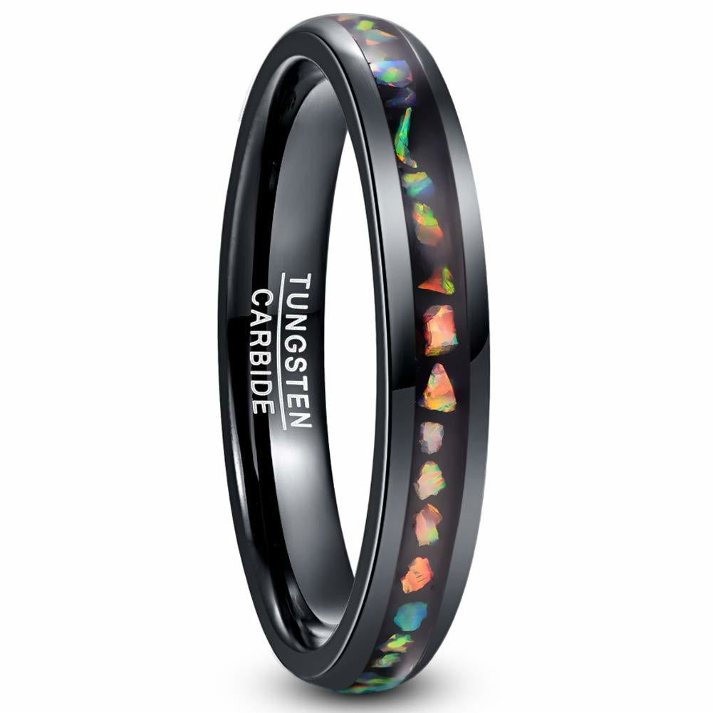 Tungsten Carbide Ring Crushed Fire Opal Men Women Black Dome Wedding Ring Comfortable Fit Tungsten Steel Ring image
