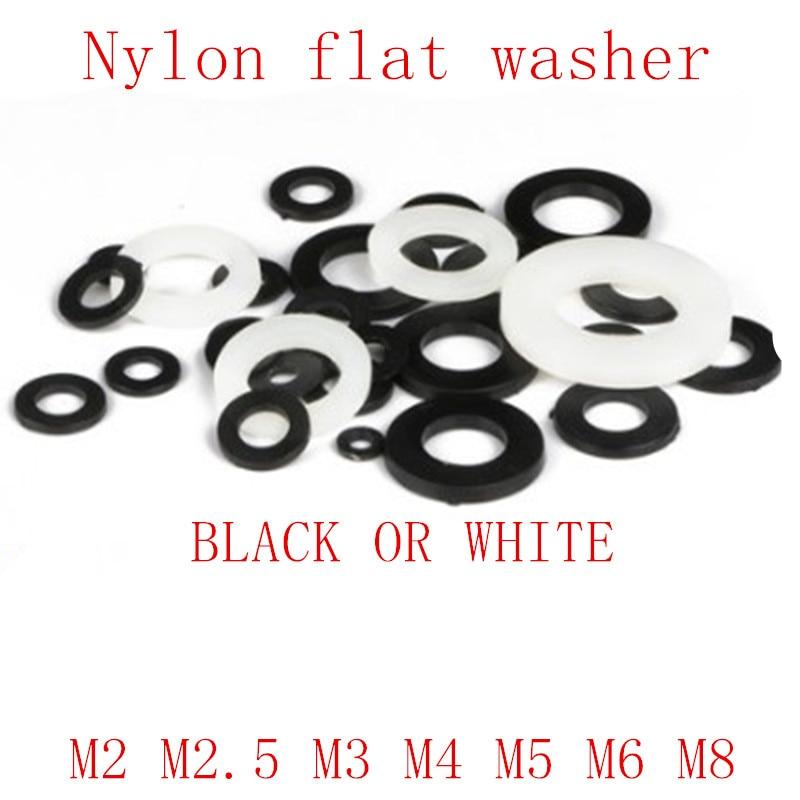 500pcs M8 Nylon Plastic Flat Washer Plain Washer Flat Gasket 8 x 16 x 1.4 mm