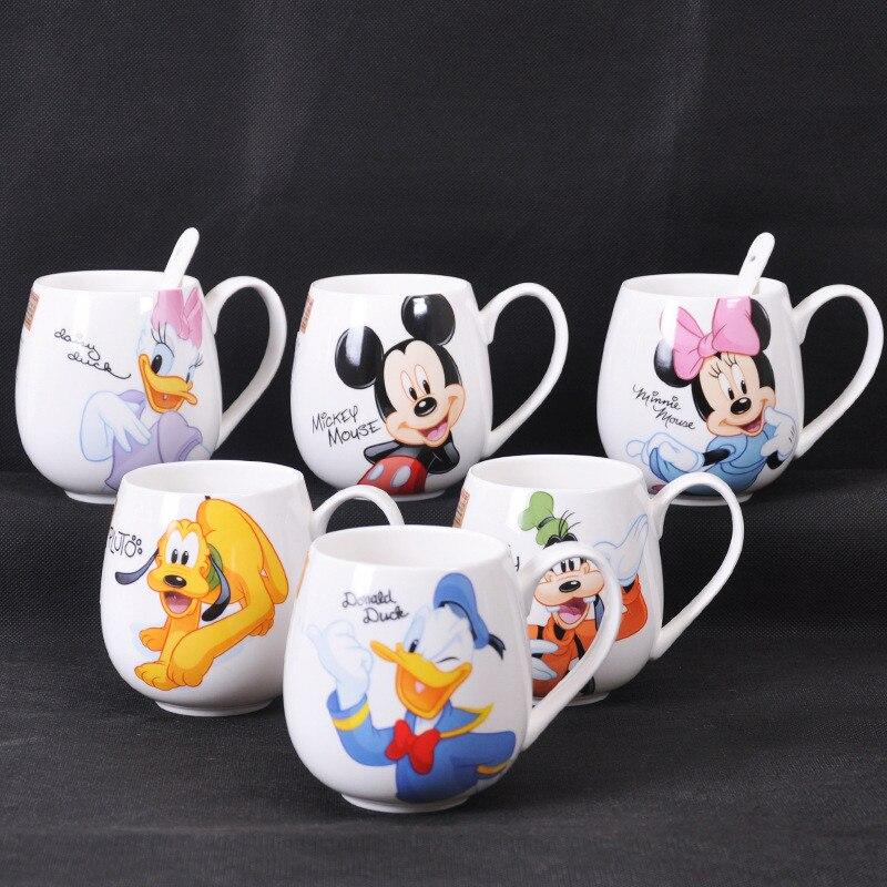 Tasse en céramique Disney Mickey Mouse, tasse de dessin animé, 300ML et 400ML, tasse à lait, eau de café pour Couple, accessoires de bureau pour enfants
