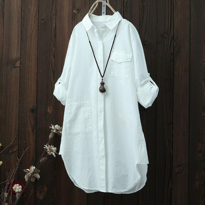 New Fashion Women Ladies Autumn Long Sleeve Button Plain Shirt Blouse Casual Loose Baggy Tunic Tops Black Green White