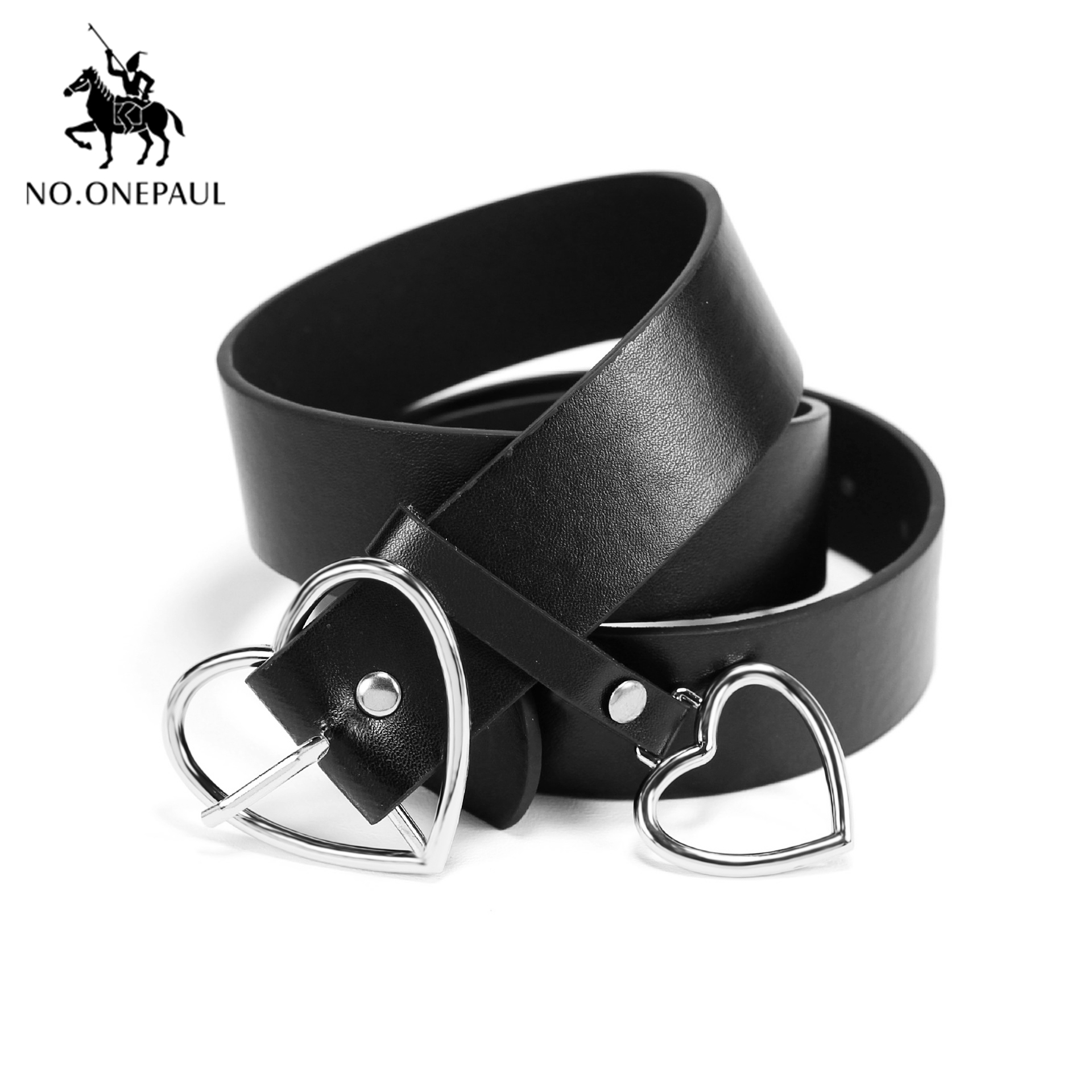 NO.ONEPAUL Genuine Leather Ladies High Quality Alloy Love Pin Buckle Fashion Retro Belt Dress Jeans Decorative Ladies Cute Belts