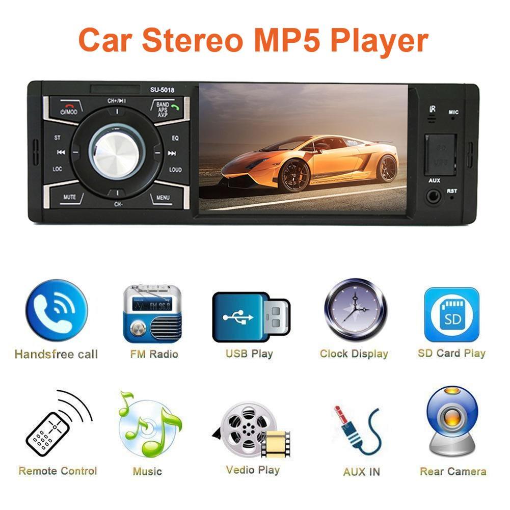 4.1 pouces 1 Din Auto Radio Audio stéréo FM Radio voiture Bluetooth MP5 lecteur USB/TF/AUX IN peut être connecté à la caméra de recul