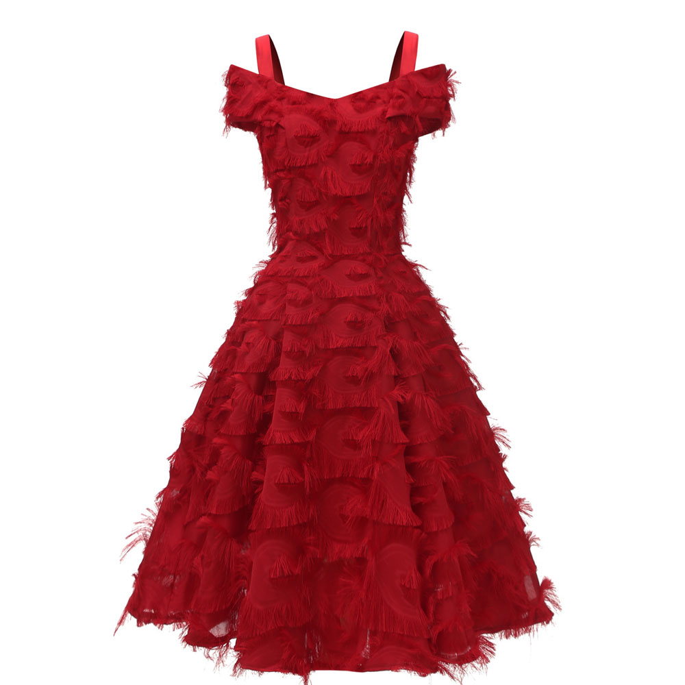 Красное коктейльное платье длиной до колена роскошное вечернее платье трапециевидной формы с кисточками сексуальное платье без рукавов с v-образным вырезом - Цвет: 1431 Red