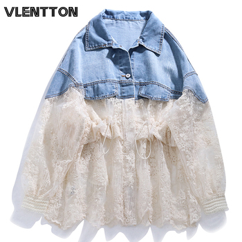 2020 Spring Summer Fashion Lace Patchwork Denim Jacket Women Casual Loose Zipper Thin Jeans Sunscreen Coat Female Outerwear white floral lace patchwork denim jeans