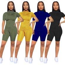 Casual Short Women Summer Set Stand Collar Short Sleeve Top