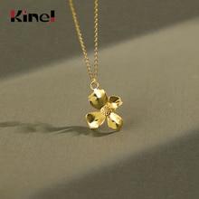 цена Kinel Real 925 Sterling Silver Lotus Whispers Flower Pendant for Women Gift Silver Necklace Creative Handmade Fine Jewelry онлайн в 2017 году