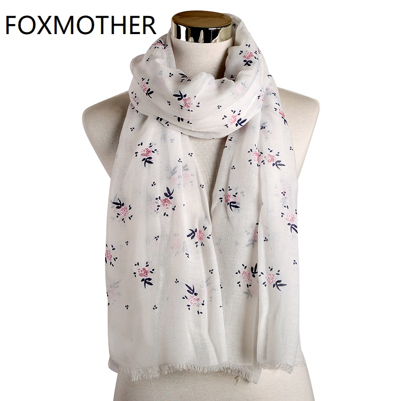 FOXMOTHER New Fashion Blue Yellow Pink Floral Glitter Scarf Shawl Wrap Echarpe Smaller Flower Scarf Women 2019 Accesorios Mujer
