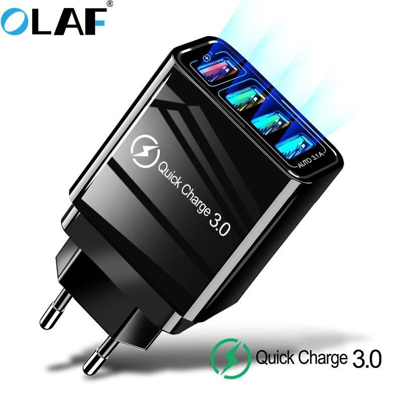 Olaf 4 carregador usb carga rápida 4.0 3.0 para huawei p20 lite samsung a50 xiaomi mi9 qc 3.0 carregador do telefone móvel para iphone 7 x
