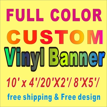 Print banner 10' x 4'/20'X2'/ 8'X5'/ Full Color Custom Vinyl Banner Free Shipping celebration birthday party