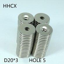 50 pièces/lot aimant de disque 20*3 trous 5 N38 fort D aimant fraisé 20x3 aimant Permanent pour haut parleur