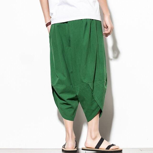 Dropshipping Summer Cotton Harem Pants Men Casual Hip Hop Trousers Cross Bloomers Calf-Length Pants Joggers Streetwear 5