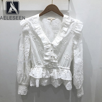 AELESEEN Runway Fashion White Blouse 2020 Spring Summer Ruffles V-Neck Blouse Flower Embroidery High Quality Blouse Top фото