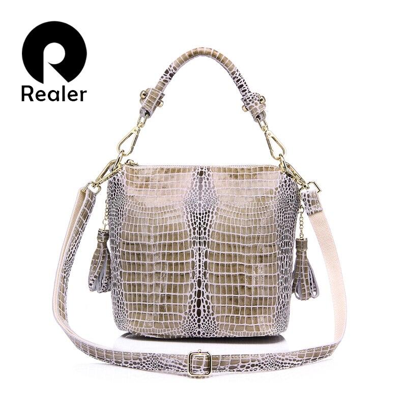 REALER delle donne del cuoio genuino della borsa di coccodrillo modello in pelle flap bag femminile borsa a tracolla con nappa delle signore di sacchetto del messaggero