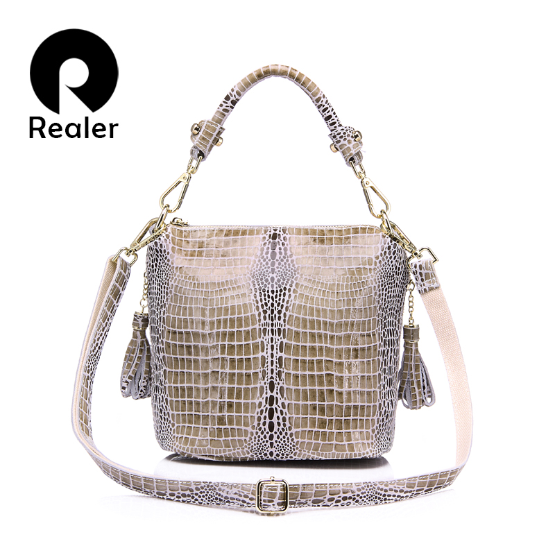 REALER Genuine Leather Women Handbag Crocodile Pattern Leather Bag Flap Female Shoulder Bag With Tassel Ladies Messenger Bag