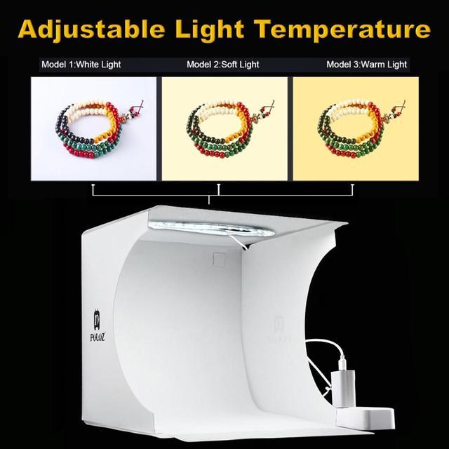 Mini Fotografie Licht Box Verstelbare Ring Led Licht Vouwen Lightbox Photo Studio Soft Box Foto Achtergrond Kit Voor Dslr Camera