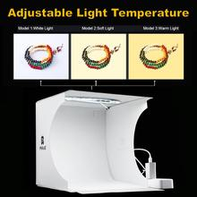 Mini caixa de luz fotografia anel ajustável led luz dobrável lightbox photo studio caixa suave foto fundo kit para dslr câmera