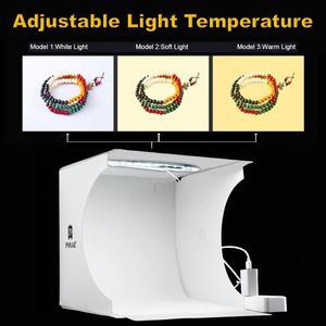 Image 1 - Mini fotoğraf ışık kutusu ayarlanabilir yüzük led ışık katlanır Lightbox fotoğraf stüdyosu yumuşak kutu fotoğraf arka plan kiti DSLR kamera için