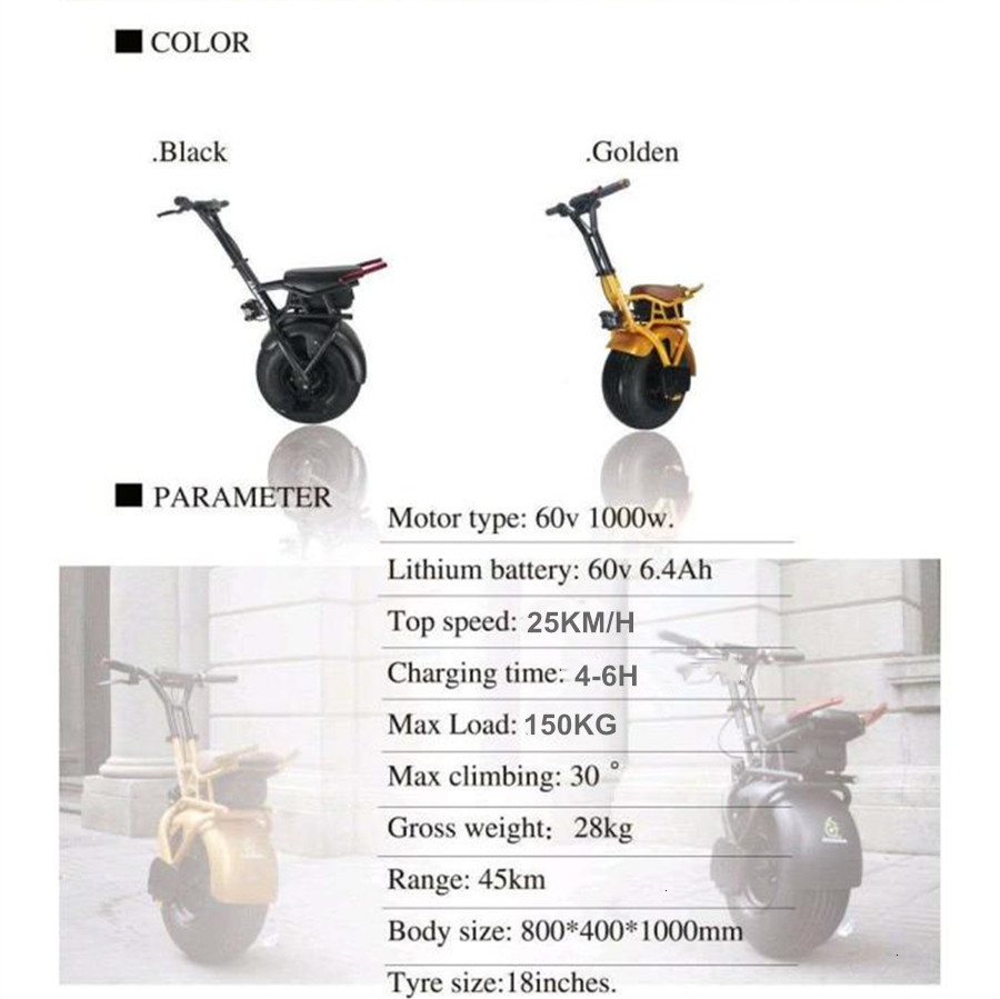 18 inch One Wheel Electric Scooter Skateboard 1000W Hoverboard E-Unicycle E-Bike With Gyro Force Braking System