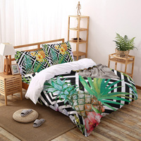 Piante tropicali foglie di ananas Set di biancheria da letto con motivo geometrico lenzuola Set copripiumino per copriletto federa per la casa