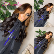 Wigs Human-Hair-Wigs Lace-Front Colored Brazilian Brown 13X4 Wavy for Women Remy