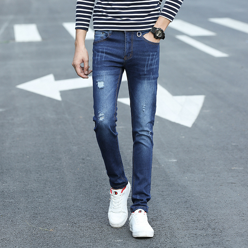 Elasticity Cat Whisker Jeans Men'S Wear Slim Fit Straight-Cut Skinny Pants Korean-style Trend Scholar With Holes Trousers