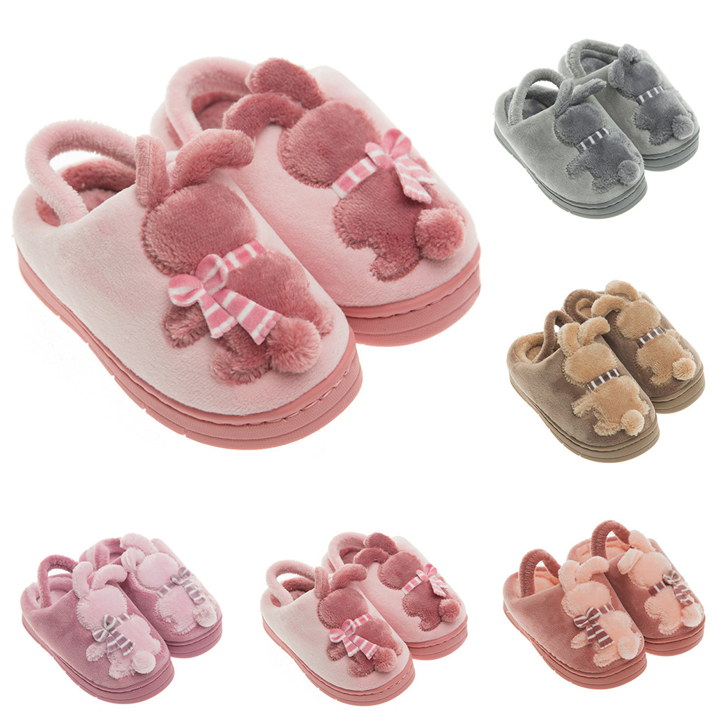 Toddler Infant Kids Baby Children Cute Cotton Rabbit Winter Warm Home Shoes Non-slip Floor Shoes Thickening Slippers Boys Girls