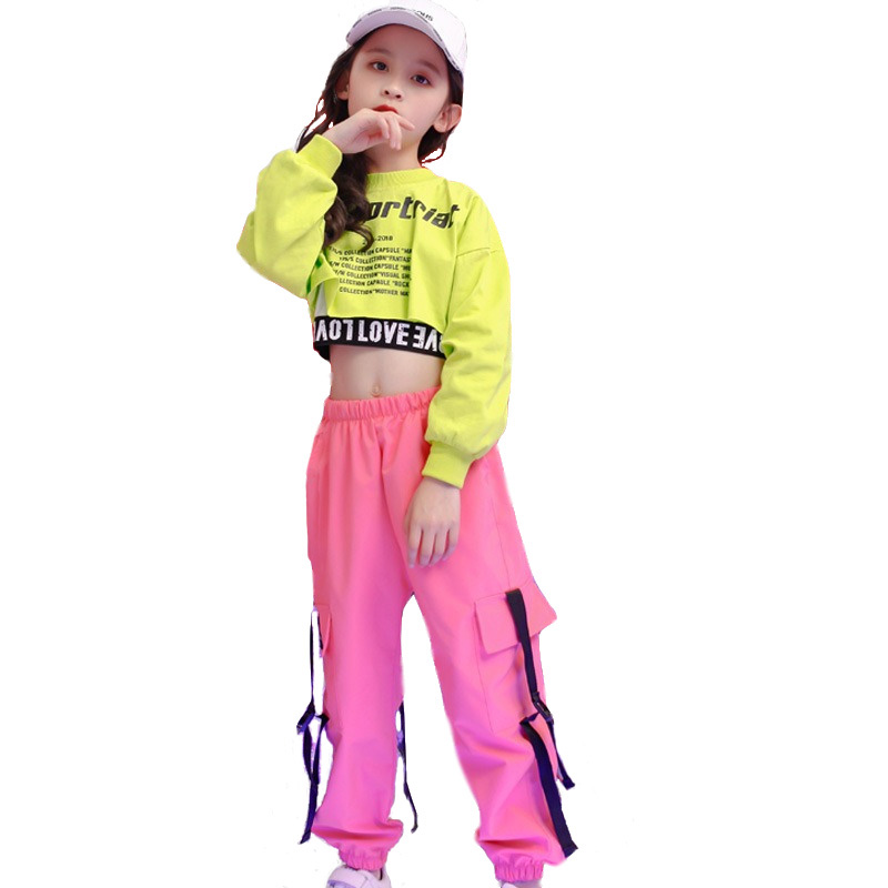 Children Hip Hop Clothing Sweatshirt Top Crop Running Casual Pants For Girl Kid Jazz Dance Costume Wear Ballroom Dancing Clothes