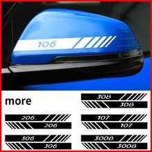 Автомобильные Боковые декоративные наклейки на зеркало заднего вида, 2 шт., светоотражающие наклейки для Peugeot 206 207 208 306 307 308 508 106 107 108 2008 3008 5008