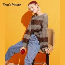 ストライプ長袖女性のセーター 秋ファッション女性ラウンドネック簡単レジャープルオーバーブラウス 2019 Samstree