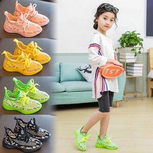 Image 2 - Çocuk ayakkabı kızlar ayakkabı 2020 erkek ışık ayakkabı çocuklar örgü parlayan spor koşu eğitmeni Sneakers kız rahat ayakkabılar erkek